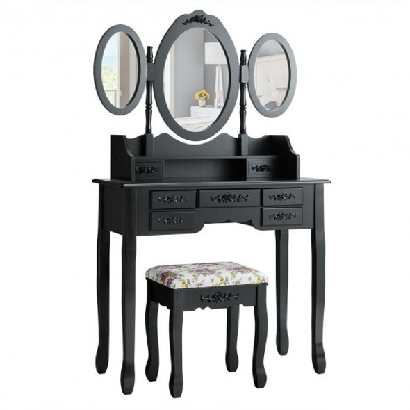 7 Drawer Tri-Folding Mirror Dressing Vanity Makeup Set-Black