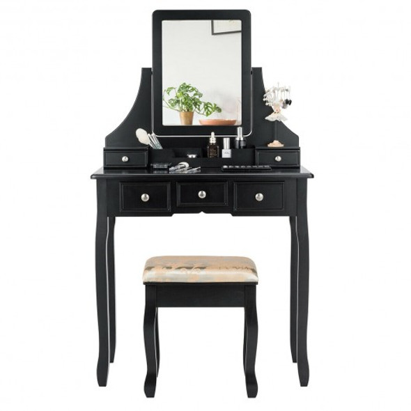 5 Drawers Removable Box Makeup Dressing Vanity Set-Black
