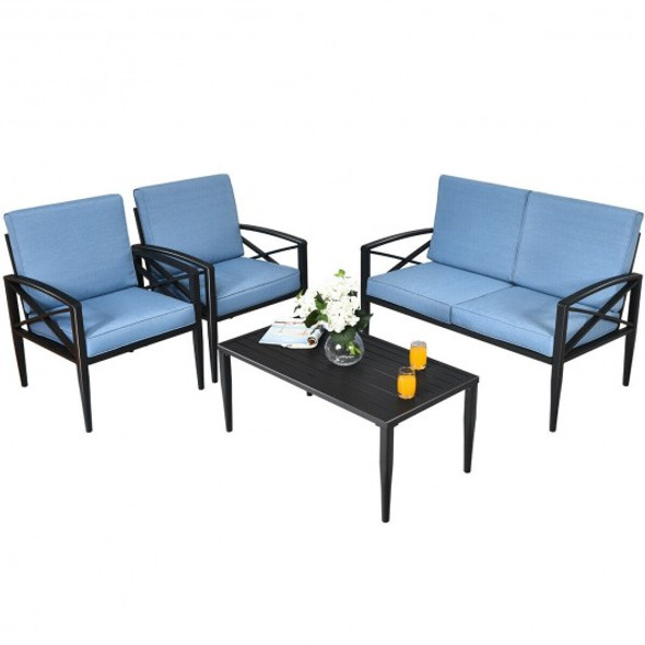 4PCS Patio Furniture Set Aluminum Frame Cushioned Sofa