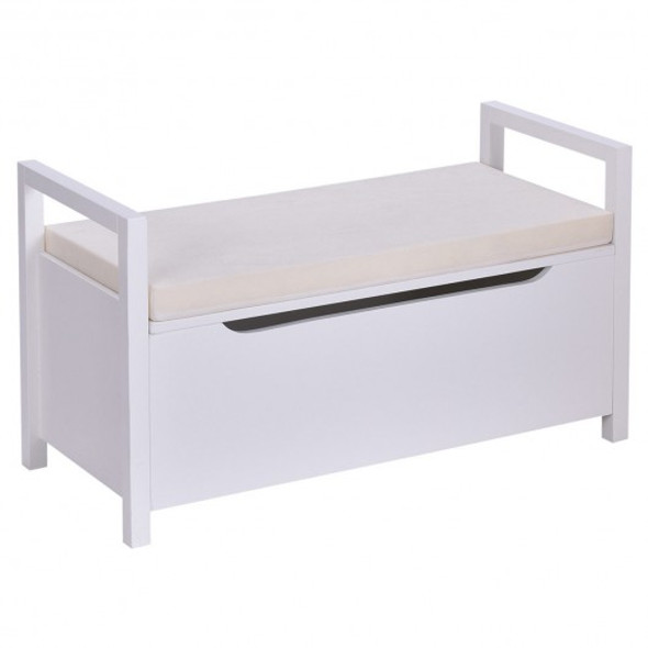 Shoe Bench Hallway Entryway Storage Rack w/ Cushion Seat-White