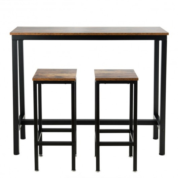 3 Pieces Bar Table Counter Breakfast Bar Dining Table with Stools-Brown