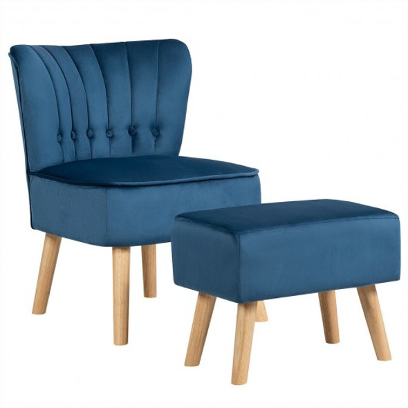 Leisure Chair and Ottoman Thick Padded Tufted Sofa Set-Blue