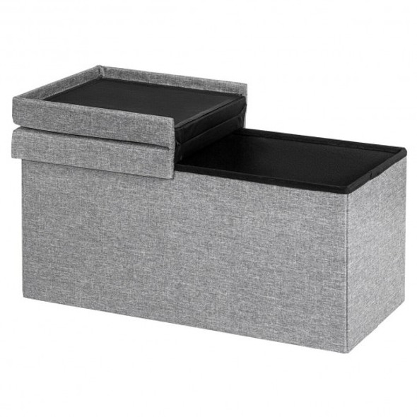 "30"" Folding Storage Ottoman with Lift Top-Light Gray"