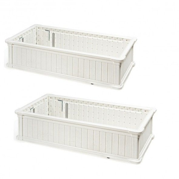 2 PCS Raised Garden Rectangle Plant Box-White