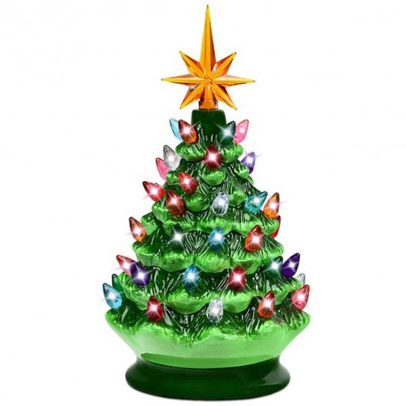 "9.5"" Prelit Hand-Painted Ceramic Battery Powered Christmas Tree"