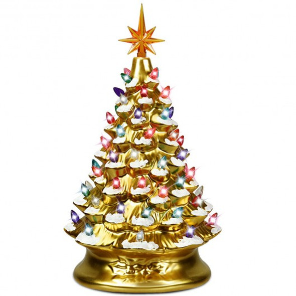 "15"" Pre-Lit Hand-Painted Ceramic Christmas Tree-Golden"