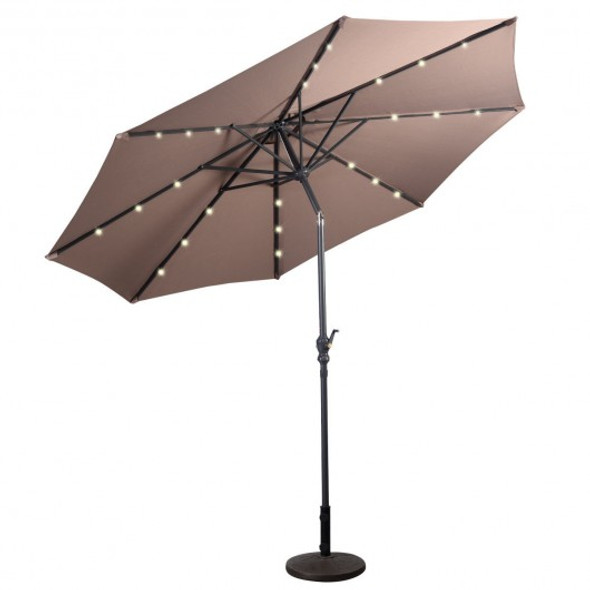 10FT Patio Solar Umbrella LED Patio Market Steel Tilt W/ Crank Outdoor New-Tan