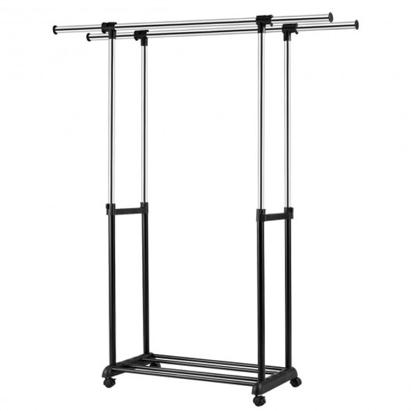 Height Adjustable Extendable Double Rail Clothes Rack