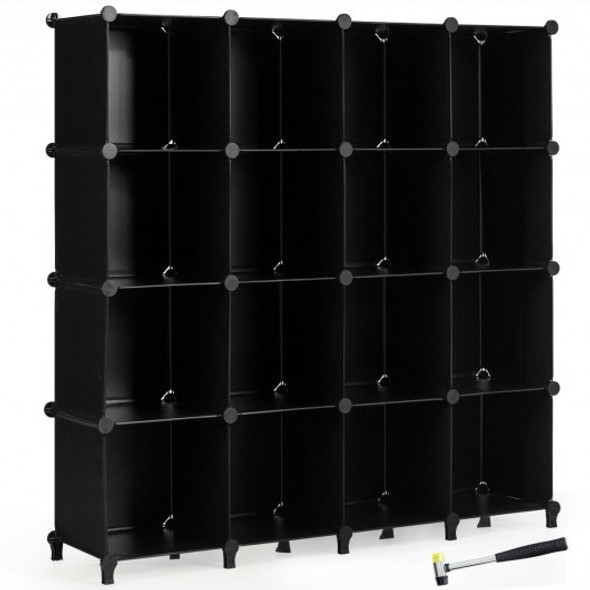 16 Plastic Cube Storage Organizer-Black