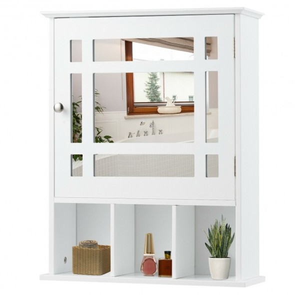 Wall Mounted and Mirrored Bathroom Cabinet-White