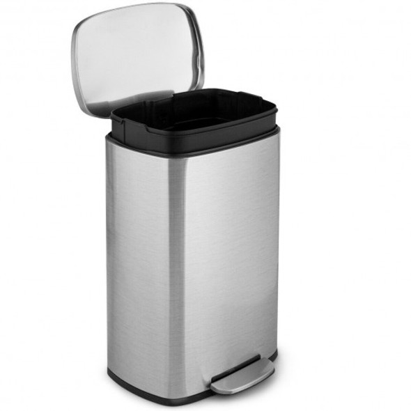 13.2 Gallon Trash Garbage Can Stainless Steel Bin with Bucket