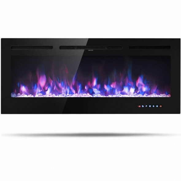 "50 "" Electric Fireplace Recessed Wall Mounted with Multicolor Flame"