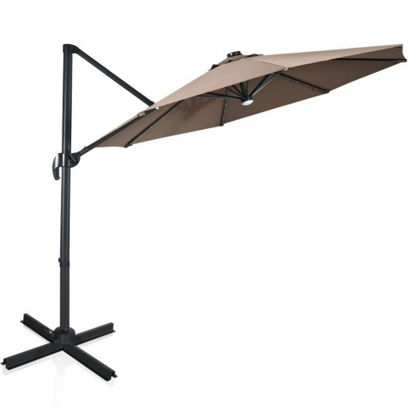 10 Ft Patio Offset Cantilever Umbrella with Solar Lights-Coffee