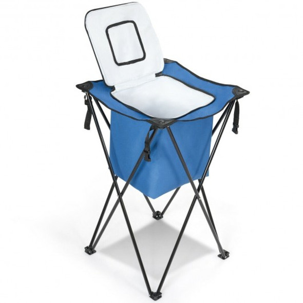 Portable Tub Cooler with Folding Stand and Carry Bag-Blue