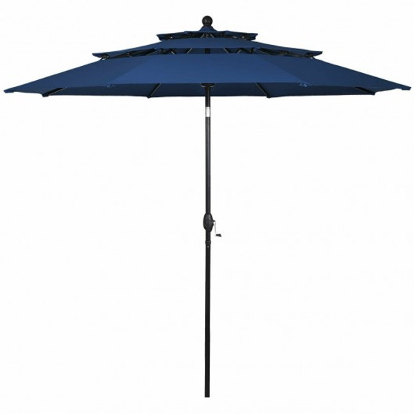 10' 3 Tier Patio Umbrella Aluminum Sunshade Shelter Double Vented-Navy