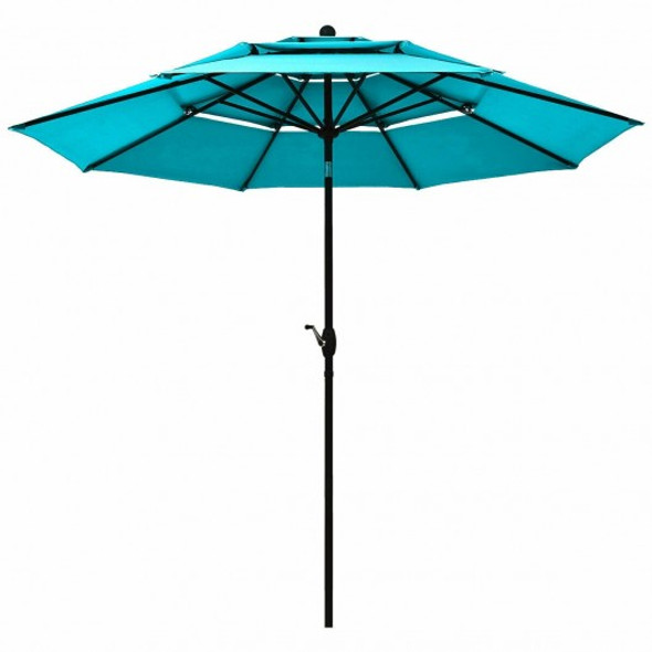 10' 3 Tier Patio Umbrella Aluminum Sunshade Shelter Double Vented-Turquoise