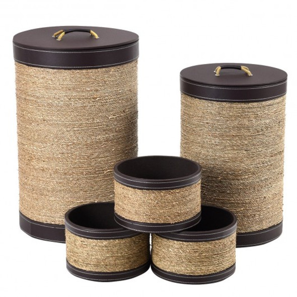 5 pcs Round Storage Basket Seaweed Hamper Laundry Basket