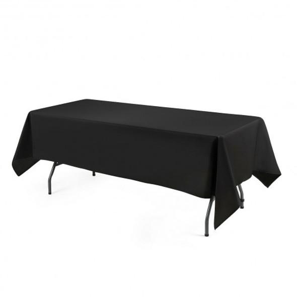 "10 pcs 60"" x 126"" Rectangle Polyester Tablecloth-Black"