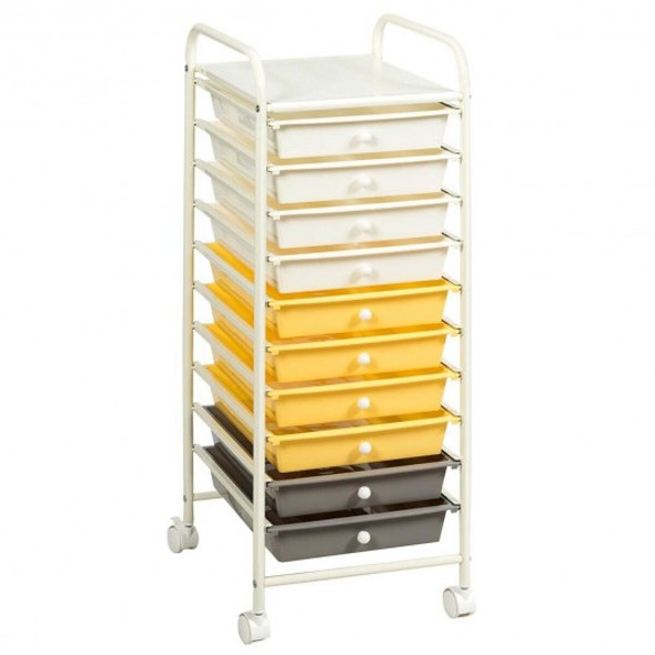 10 Drawer Rolling Storage Cart Organizer-Yellow
