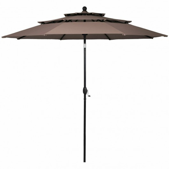 10ft 3 Tier Patio Umbrella Aluminum Sunshade Shelter Double Vented-Tan
