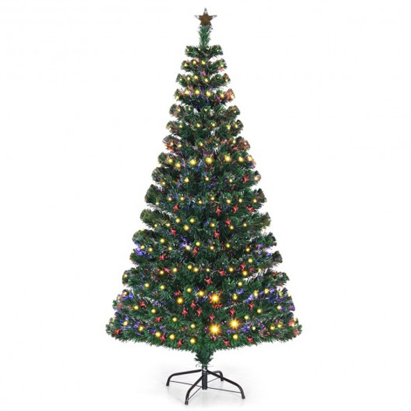 5'/6'7' LED Fiber Optic Artificial Christmas Tree w/ Top Star-5'