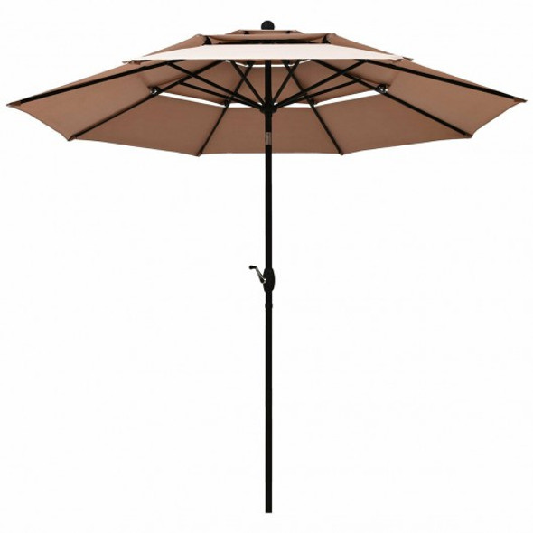10ft 3 Tier Patio Umbrella Aluminum Sunshade Shelter Double Vented-Beige