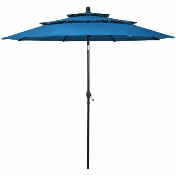 10' 3 Tier Patio Umbrella Aluminum Sunshade Shelter Double Vented-Blue