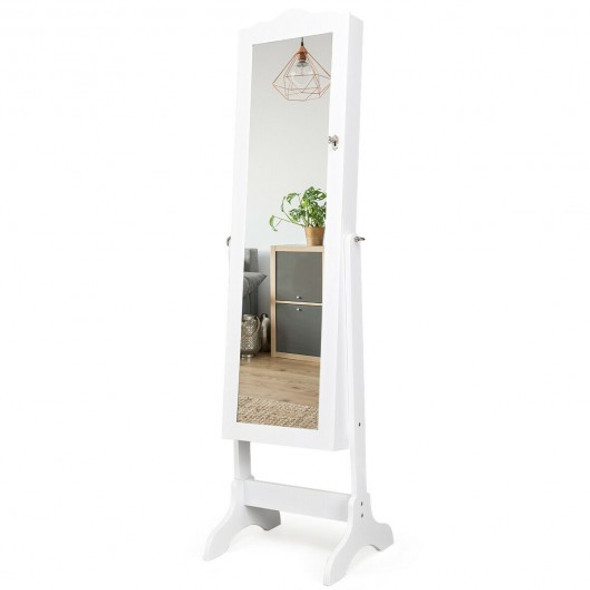 Mirrored Lockable Jewelry Cabinet Armoire Organizer Storage Box-White