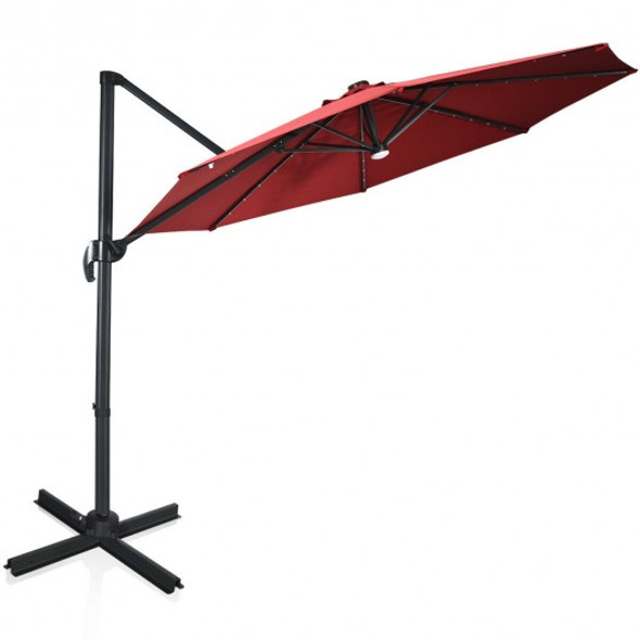 10 Ft Patio Offset Cantilever Umbrella with Solar Lights-Wine