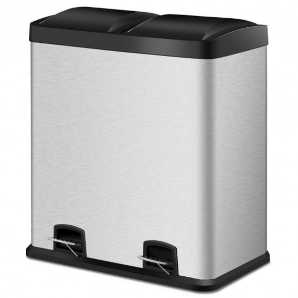 16 Gallon Dual Step Stainless Steel Double Bucket Trash Can