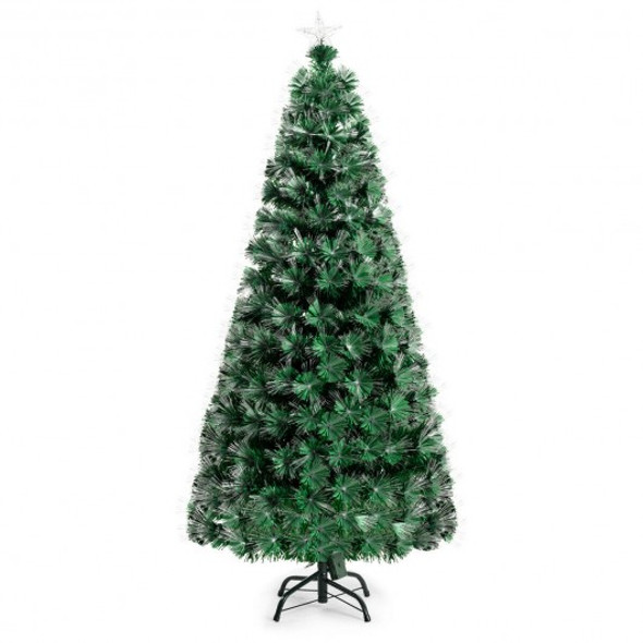 5' / 6' Pre-Lit Fiber Double-Color Lights Optic Christmas Tree-5'