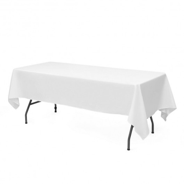 "10 pcs 90"" x 156"" Rectangle Polyester Tablecloth-White"