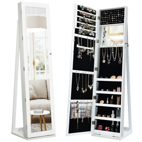 Mirrored Lockable Standing Jewelry Storage Organizer-White