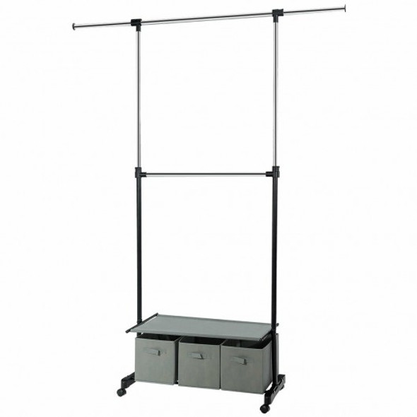 2-Rod Adjustable Garment Rack with Shelf & Storage Boxes