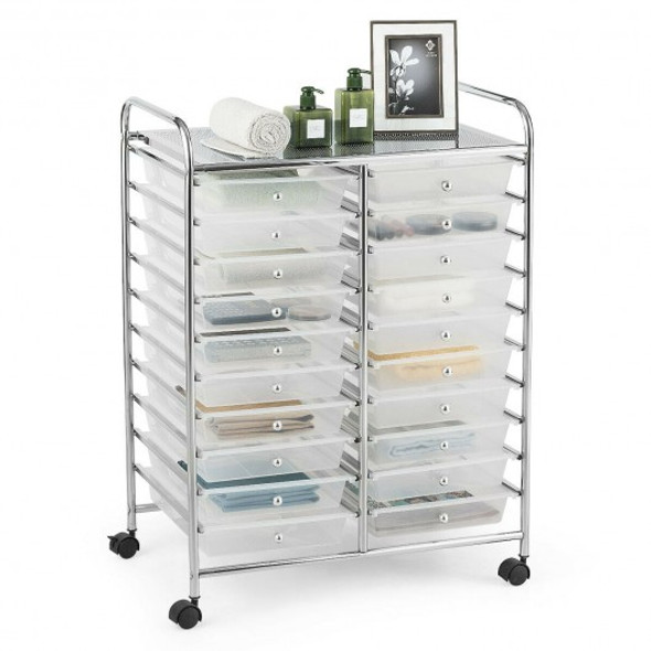 20 Drawers Storage Rolling Cart Studio Organizer-Clear