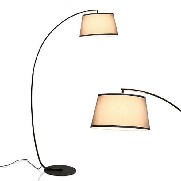 Arc Sturdy Base Modern Floor Lamp with Hanging Lampshade-Black