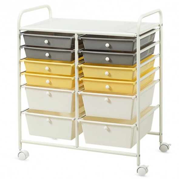 12 Drawers Rolling Cart Storage Scrapbook Paper Organizer Bins-Yellow
