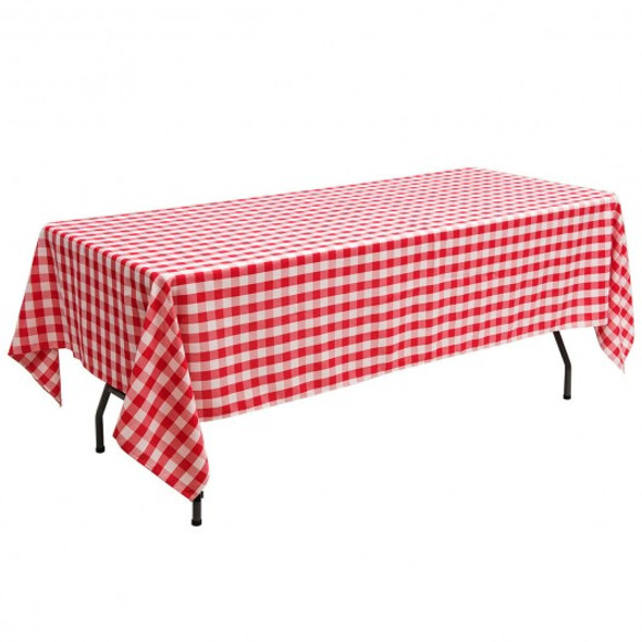"10 Pcs 60"" x 102"" Rectangular Polyester Checker Kitchen Tablecloth-Red"