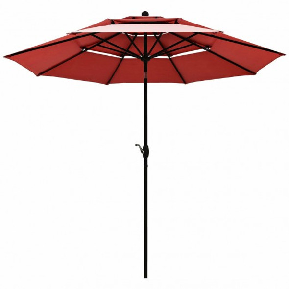 10ft 3 Tier Patio Umbrella Aluminum Sunshade Shelter Double Vented-Burgundy