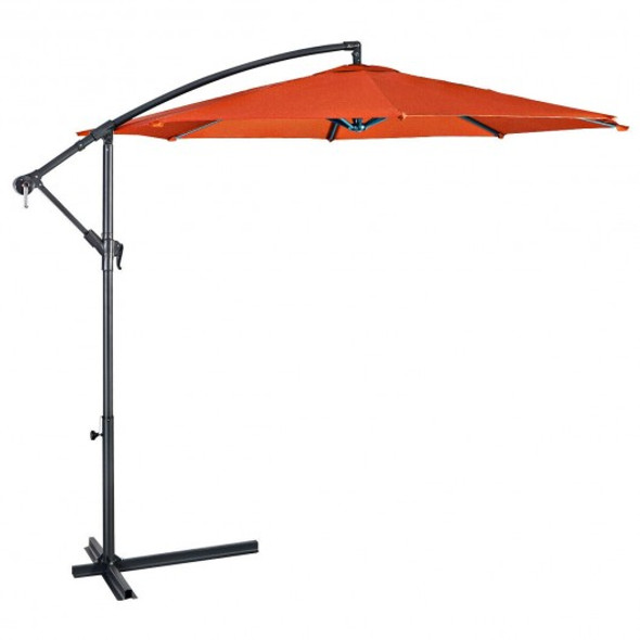 10' Patio Outdoor Sunshade Hanging Umbrella-Orange