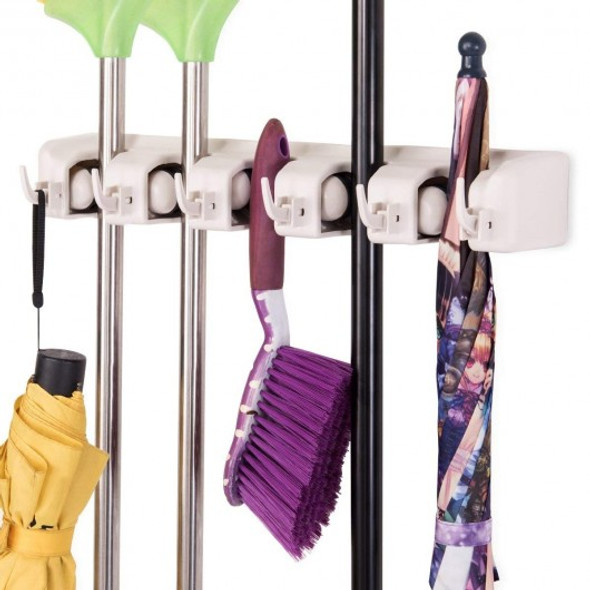 Wall-mounted Mop Holder Hanger with 5 Positions -Dark Gray