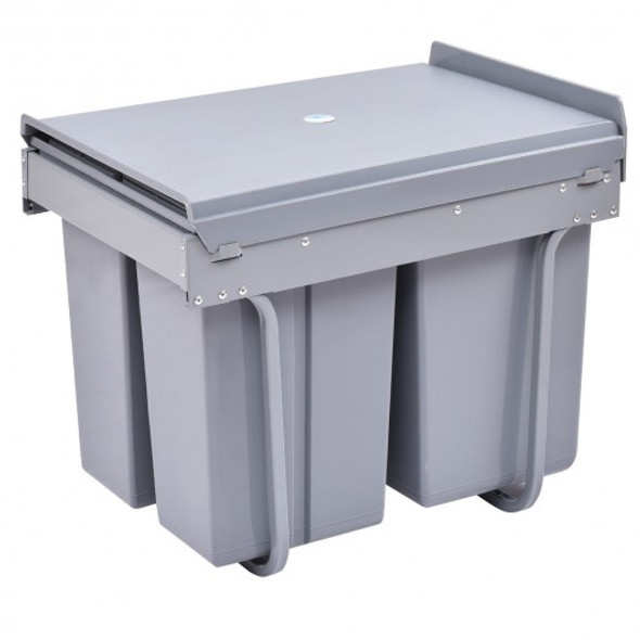 10.5 gal 3 Compartment Pull Out Recycling Waste Bin