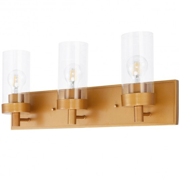 3-Light Vanity Lamp w/ Gold Finish and Clear Glass Shade