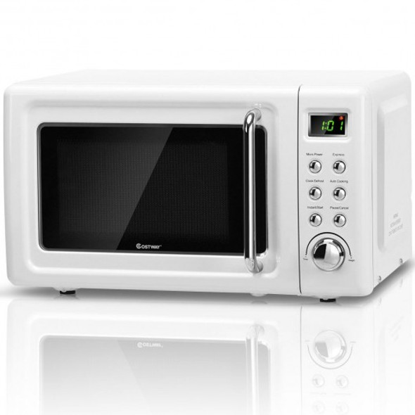 700W Glass Turntable Retro Countertop Microwave Oven-White