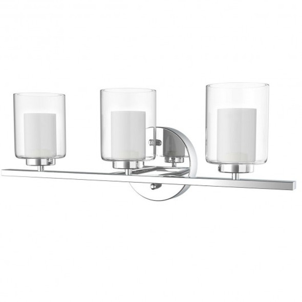 3-Light Wall Sconce light Fixture w/ Brushed Chrome Finish