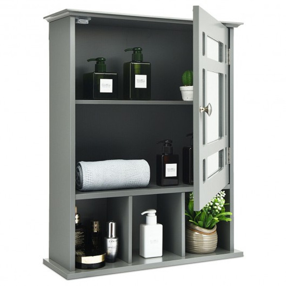 Wall Mounted and Mirrored Bathroom Cabinet-Gray