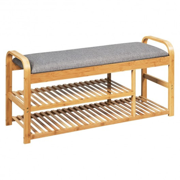 3-Tier Bamboo Shoe Rack Bench with Cushion-Natural