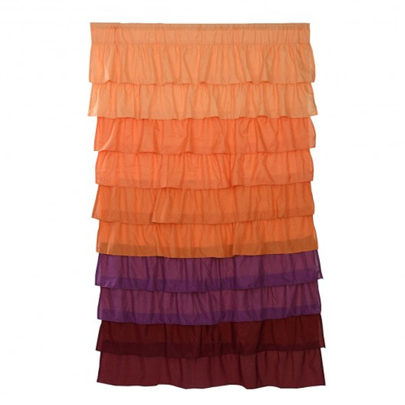 "1 PC Ruffle 54""X84"" Sheer Curtain Panels Drapes Valances Rod Pocket Polyester-orange"