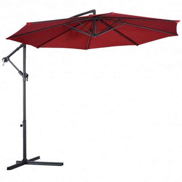 10' Hanging Umbrella Patio Sun Shade Offset Outdoor Market W/T Cross Base-Burgundy