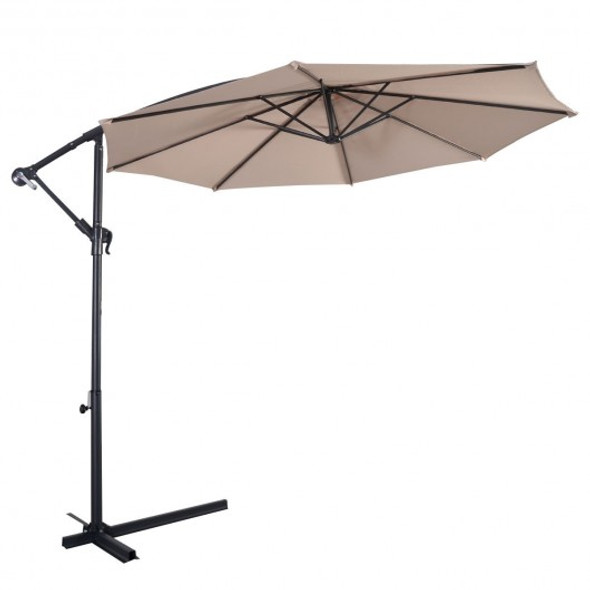10' Hanging Umbrella Patio Sun Shade Offset Outdoor Market W/T Cross Base-beige